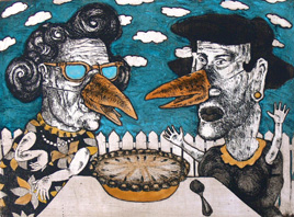 """Garrett Ron, Magpie Americana, Etching, aquatint, drypoint, open bite with hand coloring, 18"""" x 24"""